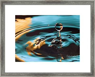 Blue Gold Drop Framed Print by Tracy  Hall