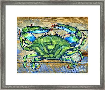 Blue Green Crab On Wood Framed Print by Doris Blessington