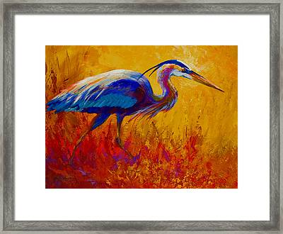Blue Heron Framed Print by Marion Rose