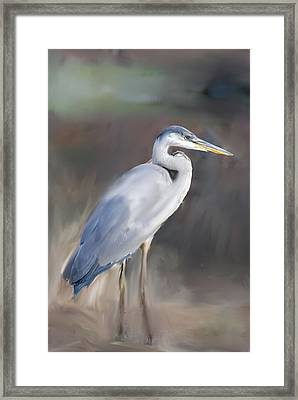 Blue Heron Painting  Framed Print by Don  Wright