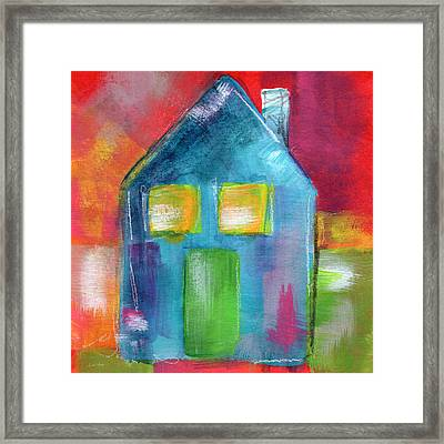 Blue House- Art By Linda Woods Framed Print by Linda Woods