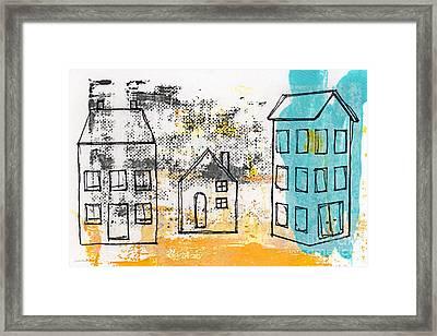 Blue House Framed Print by Linda Woods