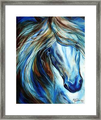 Blue Mane Event Equine Abstract Framed Print by Marcia Baldwin