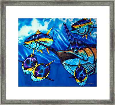 Blue Marlin And Yellowfin Tuna Framed Print by Daniel Jean-Baptiste