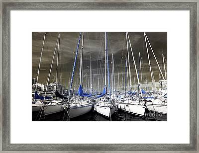 Blue Masts Of Marseille Framed Print by John Rizzuto
