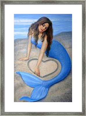 Blue Mermaid's Heart Framed Print by Sue Halstenberg