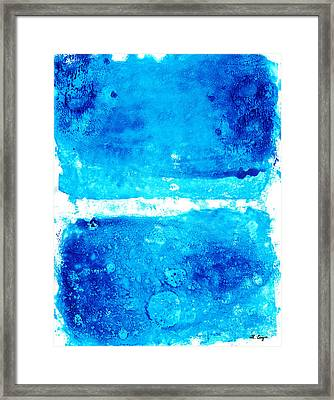 Blue Modern Art - Two Pools - Sharon Cummings Framed Print by Sharon Cummings