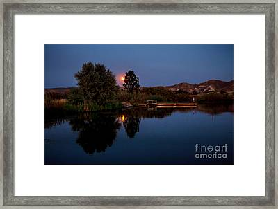 Blue Moon And Fisherman Reflections Framed Print by Robert Bales