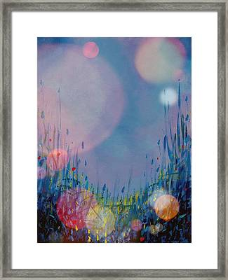 Blue Moons And Fireflies Framed Print by Diann Blevins
