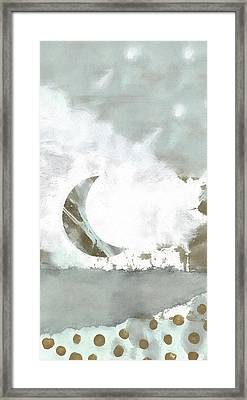 Blue Moonset Monoprint Collage Framed Print by Carol Leigh