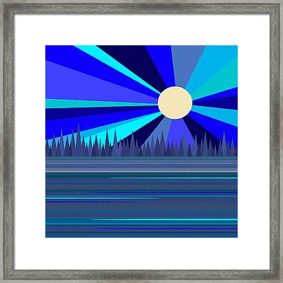 Blue Moonshine -  Square Framed Print by Val Arie