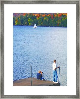 Blue Mountain Lake 13 - Tourists On Dock Framed Print by Steve Ohlsen