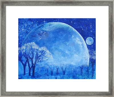 Blue Night Moon Framed Print by Ashleigh Dyan Bayer