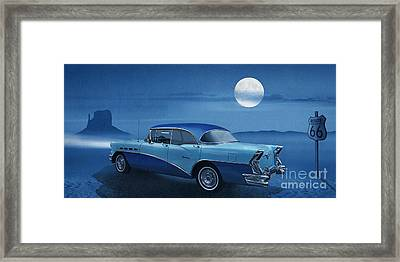 Blue Night On Route 66 Framed Print by Monika Juengling