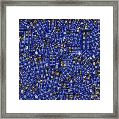 Blue Phone Box Pattern Framed Print by Lugu Poerawidjaja