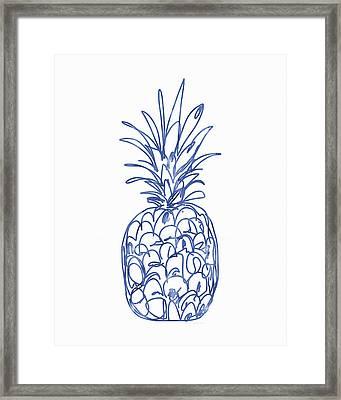 Blue Pineapple- Art By Linda Woods Framed Print by Linda Woods