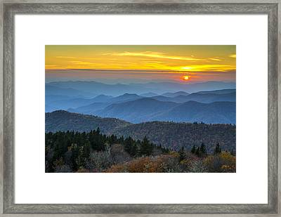 Blue Ridge Parkway Sunset - For The Love Of Autumn Framed Print by Dave Allen