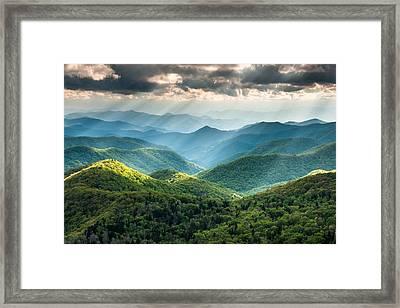 Blue Ridge Southern Appalachian Mountain Light Show Framed Print by Mark VanDyke