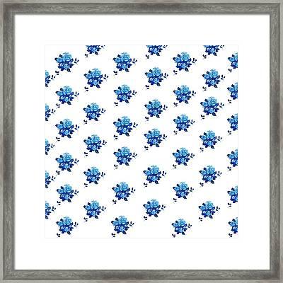 Blue Rose Pattern 2 Framed Print by Jan Matson