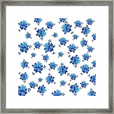 Blue Rose Pattern Framed Print by Jan Matson