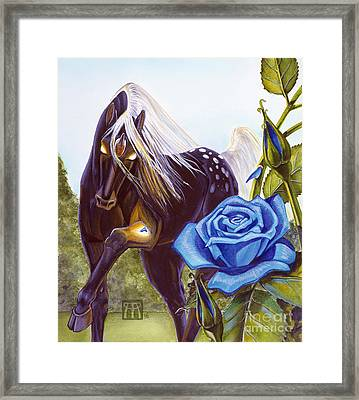 Blue Rose Unicorn Framed Print by Melissa A Benson