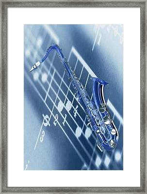 Blue Saxophone Framed Print by Norman Reutter