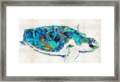 Blue Sea Turtle By Sharon Cummings  Framed Print by Sharon Cummings
