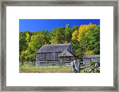 Blue Sky Autumn Barn Framed Print by Luke Moore