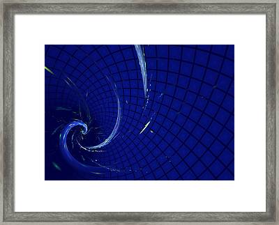 Blue Spiral On Checked Background Framed Print by Natalia Danchenko
