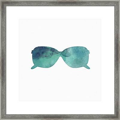 Blue Sunglasses 1- Art By Linda Woods Framed Print by Linda Woods