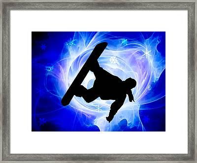 Blue Swirl Snowstorm Framed Print by Elaine Plesser