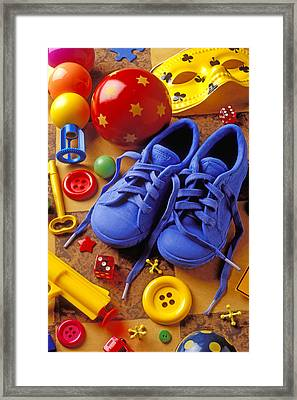Blue Tennis Shoes Framed Print by Garry Gay