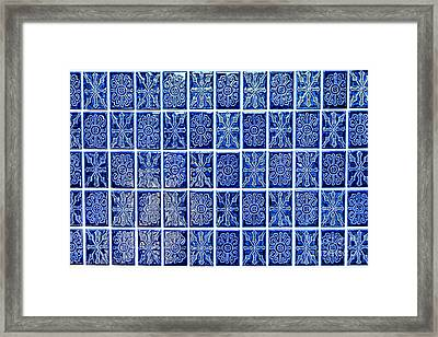 Blue Tile Wall Framed Print by Olivier Le Queinec