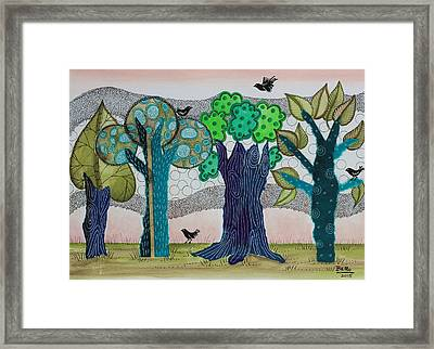 Blue Trees Framed Print by Graciela Bello