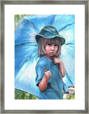 Blue Umbrella Framed Print by Jane Schnetlage