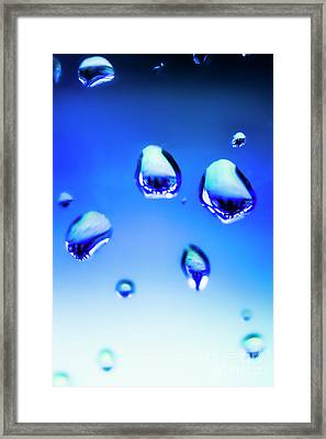 Blue Water Droplets On Glass Framed Print by Jorgo Photography - Wall Art Gallery