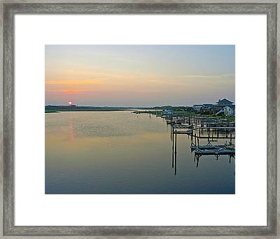 Blue Water Point Sunset Framed Print by Robert Ponzoni
