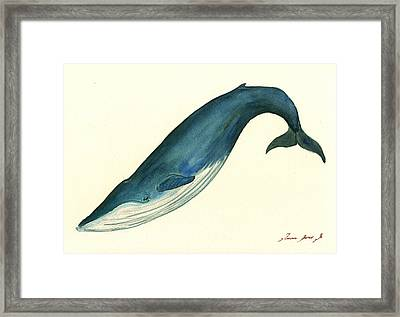 Blue Whale Painting Framed Print by Juan  Bosco