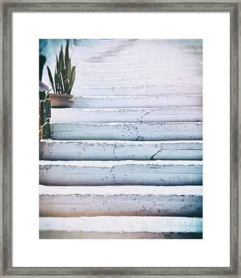 Blue White Steps Framed Print by Patricia Hofmeester