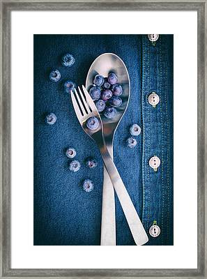 Blueberries On Denim II Framed Print by Tom Mc Nemar