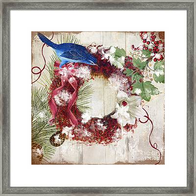 Bluebird Christmas I Framed Print by Mindy Sommers