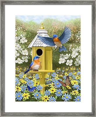 Bluebird Garden Home Framed Print by Crista Forest