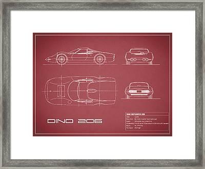 Blueprint Ferrari Dino - Red Framed Print by Mark Rogan