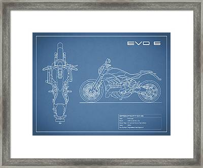 Blueprint Of A Evo 6 Motorcycle Framed Print by Mark Rogan