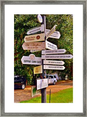 Bluffton Sc Directions Framed Print by Lisa Wooten