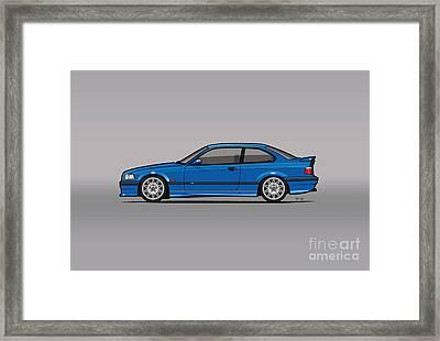 Bmw 3 Series E36 M3 Coupe Estoril Blue Framed Print by Monkey Crisis On Mars
