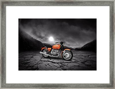 Bmw R90-6 1974 Mountains Framed Print by Aged Pixel