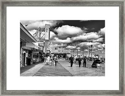 Boardwalk Beat Mono Framed Print by John Rizzuto