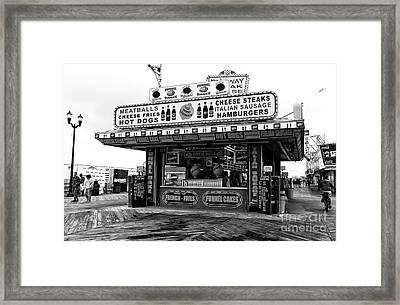 Boardwalk Comfort Mono Framed Print by John Rizzuto