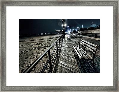 Boardwalk Solitude Framed Print by Becca Buecher